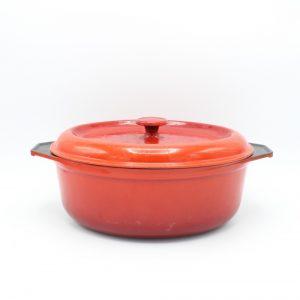vintage gietijzeren pan rood ovaal 28 cm cast iron dutch oven oval red France