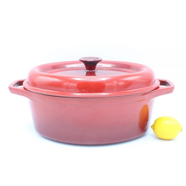 Invicta gietijzeren pan rood ovaal 29 cm cast iron dutch oven oval red