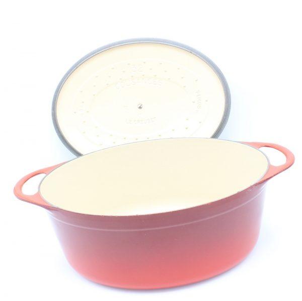 Cousances Le Creuset vintage gietijzeren pan rood cast iron red 32 cm