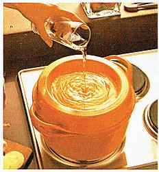 Cousances Doufeu gietijzeren pan water deksel vintage advertentie