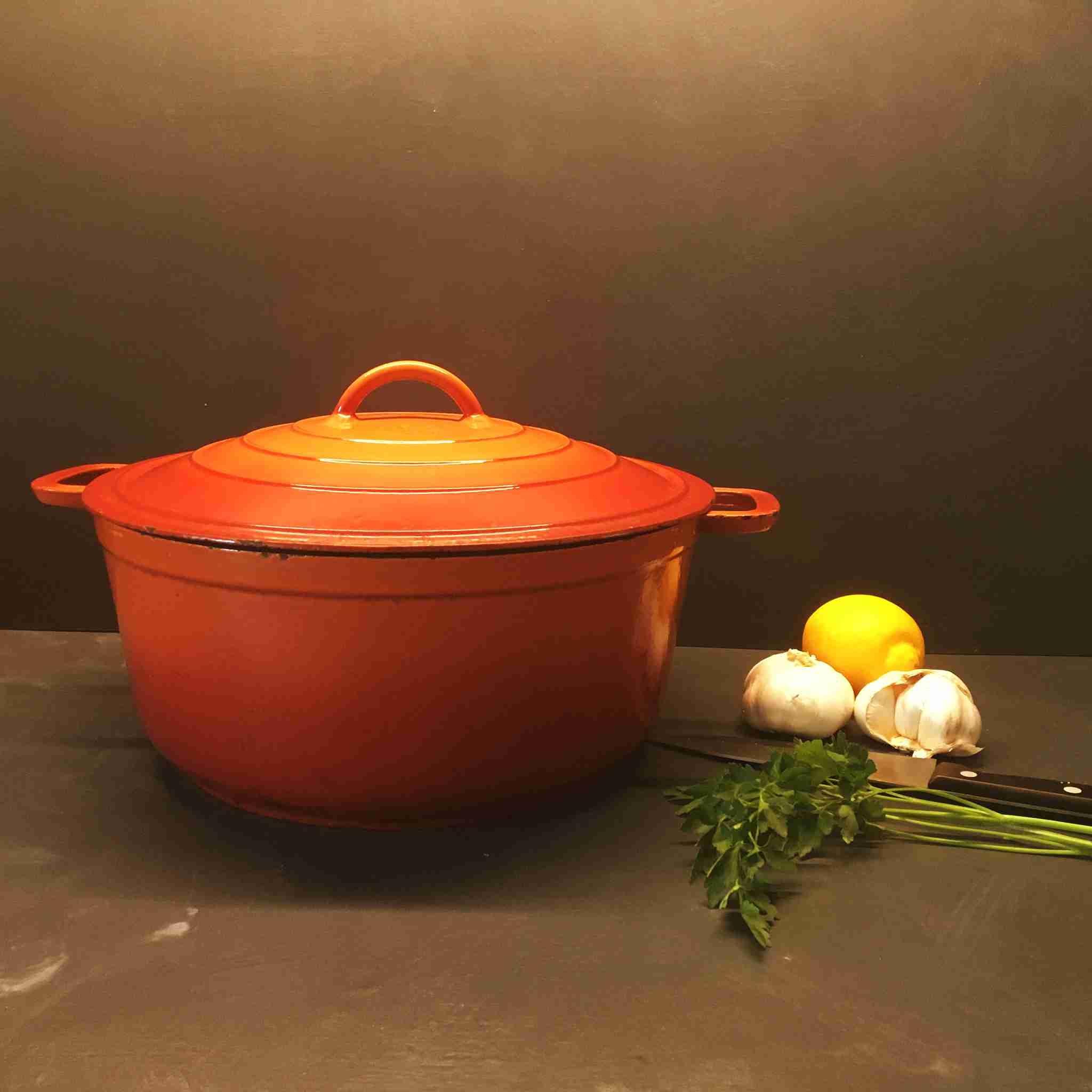 DRU oranje gietijzeren pan